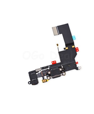 For Apple iPhone 5S Charging Dock Connector and Headphone Jack Flex Cable Replacement, High Quality, Black