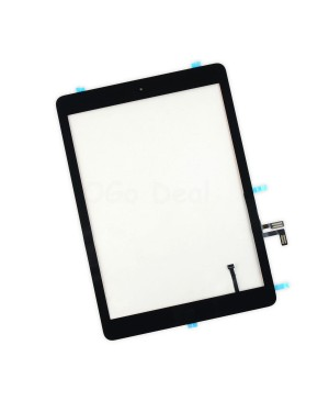 iPad Air Glass and Digitizer with Home Button Flex Assembly, High Quality - Black