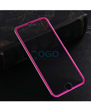iPhone 6 Plus/6S Plus Titanium Alloy Full Cover Tempered Glass Screen Protector Film Fuchsia With retail Packing Box