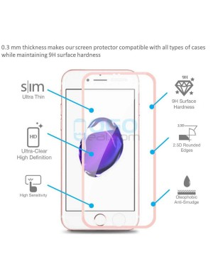 iPhone 6 Plus/6S Plus Titanium Alloy Full Cover Tempered Glass Screen Protector Film Rose Gold With retail Packing Box