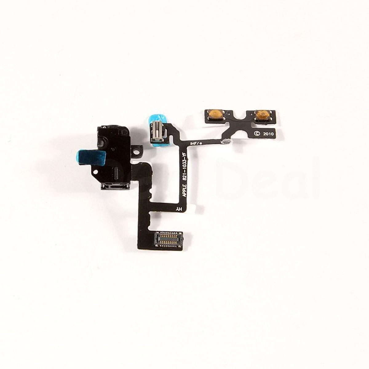 iphone 4 headphone jack and volume flex cable black ogo deal. Black Bedroom Furniture Sets. Home Design Ideas