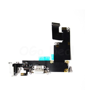 Apple iPhone 6 Plus Charging Dock Connector and Headphone Jack Flex Cable Replacement, High Quality, White