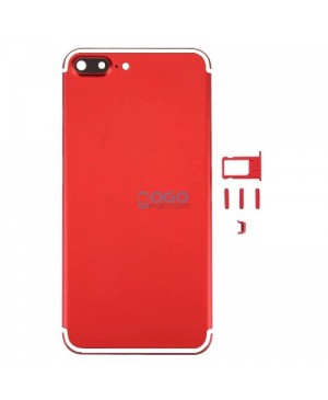 Battery Door/Back Cover Replacement for iPhone 7 Plus - Red With White Line