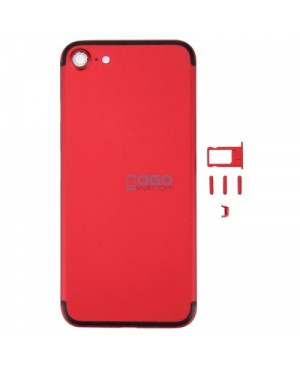 Battery Door/Back Cover Replacement for iPhone 7 - Red With Black Line
