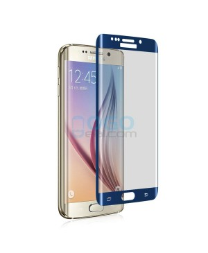 Samsung Galaxy S6 Edge Full Coverage Tempered Glass Screen Protector Film Guard 9H Blue With retail Packing Box