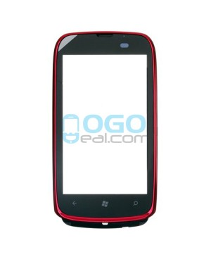 Digitizer Touch Glass Panel with Frame Replacement for Nokia Lumia 610 Red
