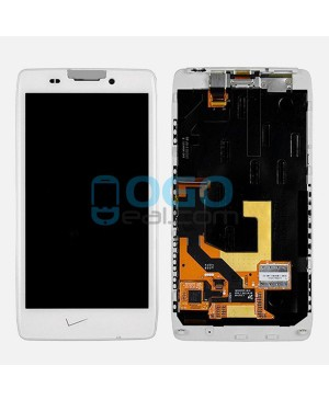 LCD & Digitizer Touch Screen Assembly With Frame V Logo Replacement for Motorola Droid RAZR HD XT926 XT925 - White