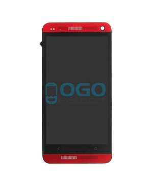LCD & Digitizer Touch Screen Assembly With Frame replacement for HTC One M7 - Red