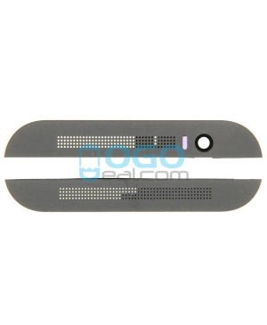Top and Bottom Glass Cover Replacement for HTC One M8 - Gray