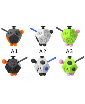 Factory Wholesale 12-side Magic Fidget Cube Dice Desk Toy Mixed Color