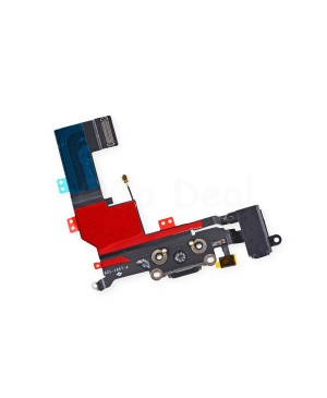 For Apple iPhone 5S Charging Dock Connector and Headphone Jack Flex Cable Replacement, Ori New, Black