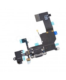 Apple iPhone 5C Charging Dock Connector and Headphone Jack Flex Cable Replacement, High Quality, Black