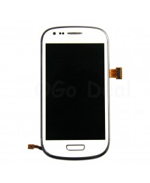 LCD Screen and Digitizer Assembly with Frame Replacement for Samsung Galaxy S3 Mini i8190 - White