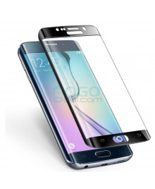 Samsung Galaxy S6 Edge Full Coverage Tempered Glass Screen Protector Film Guard 9H Black With retail Packing Box