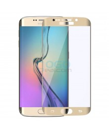 Samsung Galaxy S6 Edge Full Coverage Tempered Glass Screen Protector Film Guard 9H Gold With retail Packing Box