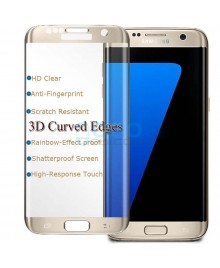 Samsung Galaxy S7 Edge Full Coverage Tempered Glass Screen Protector Film Guard 9H Gold With retail Packing Box