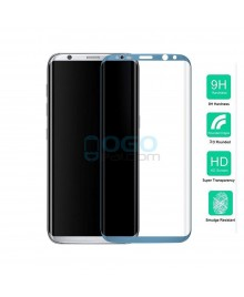 Samsung Galaxy S8 Full Coverage Tempered Glass Screen Protector Film Guard 9H Blue With retail Packing Box