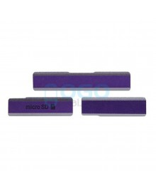 Micro SD & Sim Card & USB Anti Dust Plug Cap Cover for Sony Xperia Z1 L39H - Purple