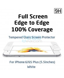 iPhone 6 Plus/6S Plus Full Coverage 9H 3D Curved Tempered Glass Screen Protector Film White With retail Packing Box