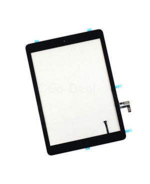 For iPad Air Glass and Digitizer with Home Button Flex Assembly Replacement, Premium - Black