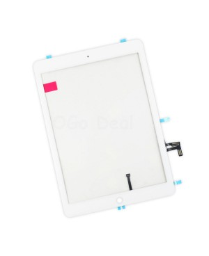 For iPad Air Glass and Digitizer with Home Button Flex Assembly Replacement, Premium - White